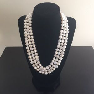 Kenneth Jay Lane Triple Strand Real Pearl necklace